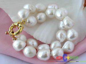 【送料無料】ブレスレット アクセサリ― ホワイトバロックブレスレットp1138 2row 15mm white baroque freshwater cultured pearl bracelet