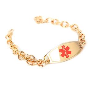 【送料無料】ブレスレット アクセサリ― アラートブレスレットスチールローズリンクチェーンmyiddr engraved compazine allergy alert bracelet steel rose id amp; olink chain