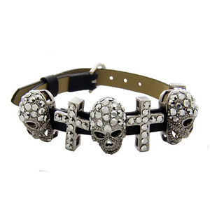 【送料無料】ブレスレット アクセサリ― バトラーウィルソンシルバースモールスカルクロスストラップブレスレットbutler and wilson silver small skull cross strap bracelet