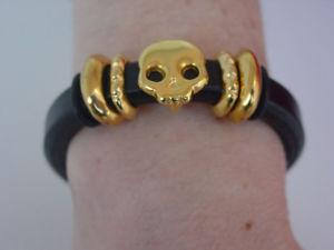 【送料無料】ブレスレット アクセサリ― スカルブレスレットギリシャスライドビーズレディースハンドメイドゴールドトーンskull bracelet greek leather sliding beads ladies handmade gold tone