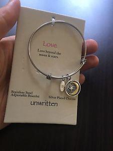 【送料無料】ブレスレット アクセサリ― ブレスレットステンレススチールドルnwt unwritten love charm bracelet stainless steel adjustable, silver plated 55