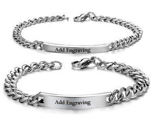 【送料無料】ブレスレット アクセサリ― メンズパーソナライズステンレススティールブレスレットセットmens amp; womens personalized engraved stainless steel bracelet couples set