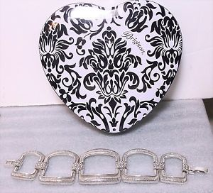 【送料無料】ブレスレット アクセサリ― ブライトンワイドリンクブレスレットシルバーbrighton large wide link statement bracelet brushed silver heart tin nwot