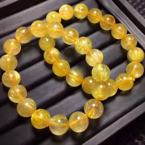 【送料無料】ブレスレット アクセサリ― ルチルチタンラウンドクリスタルビーズストレッチブレスレット12mm natural gold rutilated quartz titanium stretch round crystal beads bracelet