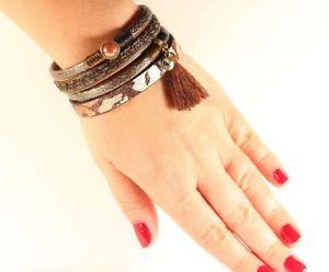 【送料無料】ブレスレット アクセサリ― トルコイタリアブレスレットturkish jewelery italian genuine leather fringed magnatic clasps bracelet
