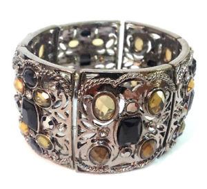【送料無料】ブレスレット アクセサリ― ダークシルバーブレスレットビンテージ evita peroni dark silver bracelet crystals flexible vintage womens jewelry