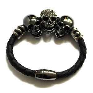 【送料無料】ブレスレット アクセサリ― バトラーウィルソンクリスタルピュータートーンロープブレスレットbutler and wilson 3 crystal pewter tone skull magnetic rope bracelet