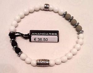 【送料無料】ブレスレット アクセサリ― ananda 925mis lブレスレットananda 925 stretchy bracelet with natural stone and silver white agate mis l