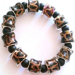 【送料無料】ブレスレット アクセサリ― ゴージャスムラノビーズブレスレットgorgeous natural murano foiled beads elasticated bracelet