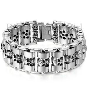 【送料無料】ブレスレット アクセサリ― オートバイリンクステンレスブレスレットheavy chain skull biker motorcycle link silver tone stainless steel men bracelet