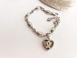 【送料無料】ブレスレット アクセサリ― ブライトンピンクスワロフスキーシルバーリンクブレスレットbrighton breast cancer pink swarovski silver links bracelet retired 2004