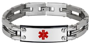 【送料無料】ブレスレット アクセサリ― インチステンレススチールブレスレット 7 thru 85 inch stainless steel engravable medical alert id bracelet