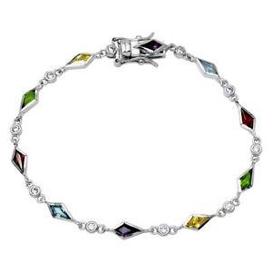 【送料無料】ブレスレット アクセサリ― スターリングシルバーマルチカラーホワイトテニスブレスレットsterling silver multi color amp; white cz stones tennis bracelet