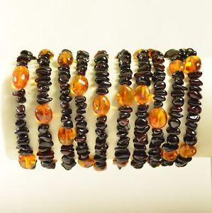 【送料無料】ブレスレット アクセサリ― ロットバルトブレスレットlot 10 whole baltic amber bracelet cherry color 36 g c2226