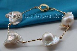【送料無料】ブレスレット アクセサリ― ホワイトバロックパールブレスレットチェーン85 natural 20mm white baroque reborn keshi pearl bracelet chain 14k f2301