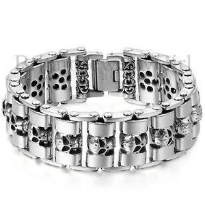【送料無料】ブレスレット アクセサリ― ヘビーチェーンスカルバイカーバイクリンクステンレススチールブレスレット89 men heavy chain skull biker motorcycle link stainless steel bracelet *23mm