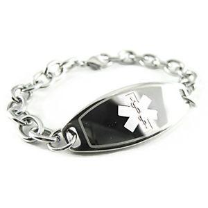 【送料無料】ブレスレット アクセサリ― カスタムアラートブレスレットスチールリンクチェーンmyiddr custom engraved womens medical alert bracelet, steel olink chain