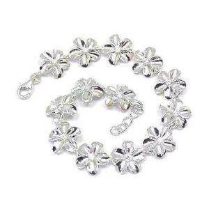 【送料無料】ブレスレット アクセサリ― シルバーハワイプルメリアブレスレットsilver 925 high polish shiny hawaiian plumeria flower bracelet cz 12mm 7