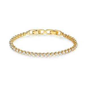 【送料無料】ブレスレット アクセサリ― エミリーテニスブレスレットクリアスワロフスキークリスタルkgpemily tennis bracelet with clear swarovski crystals bridal wedding myjs 16k gp