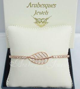 【送料無料】ブレスレット アクセサリ― アラベスクローズゴールドスターリングシルバークリスタルリーフテニスブレスレットarabesques jewels rose goldsterling silvercrystal leafleaves tennis bracelet