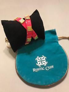 【送料無料】ブレスレット アクセサリ― カフホットピンクダブルクリックラップゴールドブレスレットrustic cuff hot pink leather double wrap meagen wgold bracelet free ship