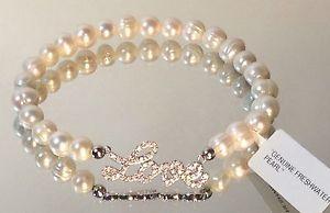 【送料無料】ブレスレット アクセサリ― パールシルバーczブレスレットfresh water pearl silver plated sparkling cz love charm stretch bracelet