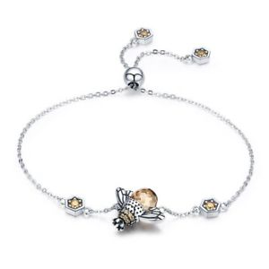 【送料無料】ブレスレット アクセサリ― 3xミツバチチェーンリンクストーンブレスレットジュエリーi3h6ダンス925スターリング3x925 sterling silver dancing honey bee chain link stone bracelet jewelry i3h6