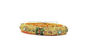 【送料無料】ブレスレット アクセサリ― マルチカラー1グラムゴールドエナメルブレスレットb1600bone gram gold enamel multicolor gem studded traditional bracelet, b1600b