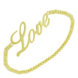 【送料無料】ブレスレット アクセサリ― スターリングイェローゴールドビーディッドwomensストレッチコードブレスレットsterling silver yellow gold beaded womens girls love charm stretch cord bracelet