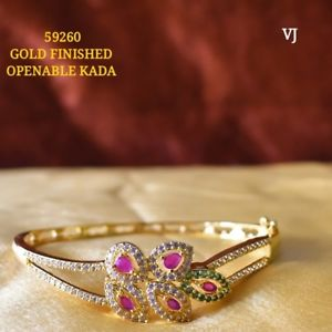 【送料無料】ブレスレット アクセサリ― ゴールドオープンルビーエメラルドブレスレットgold finished openable ruby emerald kada bracelet eq31962