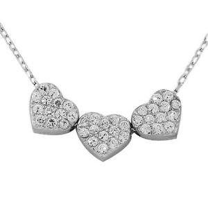 【送料無料】ブレスレット アクセサリ― トリプルレディースペンダントsterling silver triple love heart charm white crystals cz womens pendant