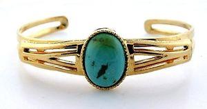 【送料無料】ブレスレット アクセサリ― ゴールドカラービンテージターコイズキャブカボションカフブレスレット7 gold color vintage 18x13 sonoran turquoise cab cabochon cuff bracelet ebs7653