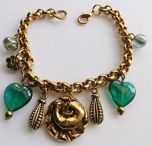 【送料無料】ブレスレット アクセサリ― ゴールドカラービンテージブレスレットガラスgold colour vintage bracelet rodi tassels various other heart of glass 449