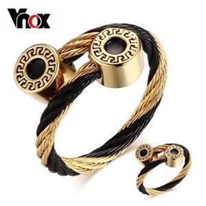 【送料無料】ブレスレット アクセサリ― ブレスレットステンレスサイズジュエリーセットbracelet and ring jewelry sets for women stainless steel wire adjustable size