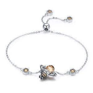 【送料無料】ブレスレット アクセサリ― 3xミツバチチェーンリンクストーンブレスレットジュエリーw4t1ダンス925スターリング3x925 sterling silver dancing honey bee chain link stone bracelet jewelry w4t1