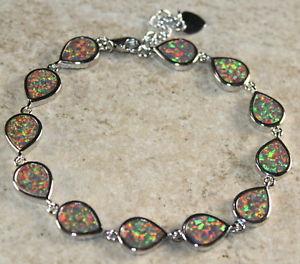【送料無料】ブレスレット アクセサリ― オレンジファイアーオパールブレスレットsilver elegant orange fire opal teardrop bracelet