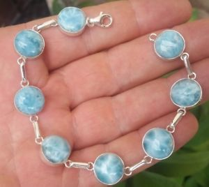 【送料無料】ブレスレット アクセサリ― スターリングシルバーブレスレットoriginal blue larimar stones 925 sterling silver bracelet bc1