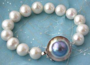 【送料無料】ブレスレット アクセサリ― ラウンドホワイトパールブレスレットシルバーマベz2338 8 14mm round white freshwater pearl bracelet silver mabe