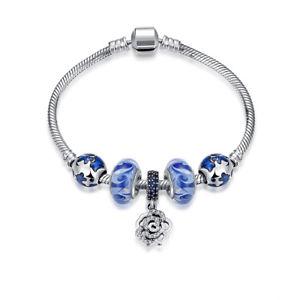 【送料無料】ブレスレット アクセサリ― 925 スターリングブレスレットチェーンジルコングラスde925 sterling silver bracelet hand chain zircon blue glass hollow flower de