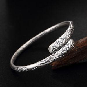 【送料無料】ブレスレット アクセサリ― マントラロータスロータスリーフスターリングシルバーブレスレット999 pure silver sixword mantra lotus lotus leaf sterling silver open bracelet