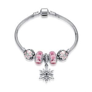 【送料無料】ブレスレット アクセサリ― スターリングシルバーブレスレットジルコンピンクガラススノーフレークペンダント925 sterling silver bracelet hand chain zircon pink glass snowflake pendant cg