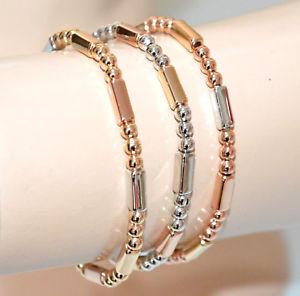 【送料無料】ブレスレット アクセサリ― シルバーブレスレットローズゴールドゴールドスタイリッシュブレスレット3 silver bracelets rose gold gold elastic shiny stylish bracelet gp16