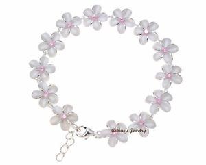 【送料無料】ブレスレット アクセサリ― 925 sterlinghawaiian plumeria flower link bracelet pinkcz 10mm 712925 sterling silver hawaiian plumeria flower link bracel