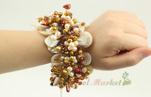 【送料無料】ブレスレット アクセサリ― ホワイトモップシェルパールクリスタルフラワーブレスレットn14042506 white mop shell pearl crystal flower bracelet