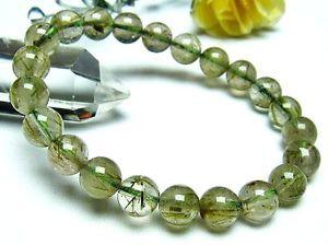 【送料無料】ブレスレット アクセサリ― ルチルラウンドブレスレットストレッチ9mm natural green rutilated quartz crystal round stretch bracelet gift bl2727