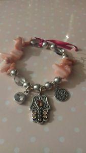 【送料無料】ブレスレット アクセサリ― bibiピンクシェルhamsaブレスレットbibi bijoux pink shell crystal hamsa charm bracelet