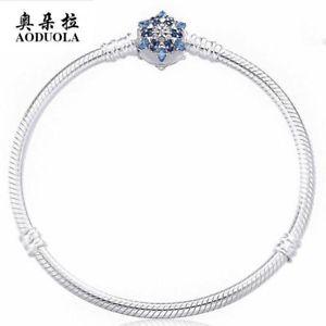 【送料無料】ブレスレット アクセサリ― スターリングシルバースネークチェーンラインストーンブレスレット100 925 sterling silver snake chain blue rhinestone snowflake clasp bracelet