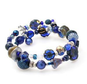 【送料無料】ブレスレット アクセサリ― チェコガラスフラワービーズダブルブレスレットラップartisan czech glass flower bead double wrap bracelet sea navy blue amp; silver bnwt