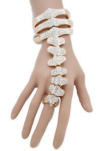 【送料無料】ブレスレット アクセサリ― スパインゴールドブレスレットスレーブリングボーンスケルトンwomen spine gold bling bracelet metal hand chain slave ring bones skeleton goth