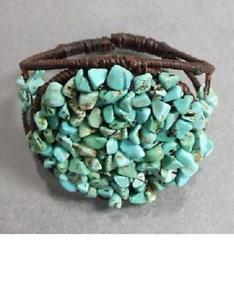 【送料無料】ブレスレット アクセサリ― ターコイズビットカフgenuine turquoise bits wired waxed cotton cuff